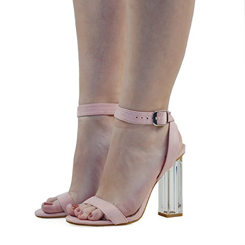 ESSEX GLAM Womens Ankle Strap Clear Heel Pastel Pink Faux Suede Party Sandals 10 B(M) (Pastel Pink Apparel)