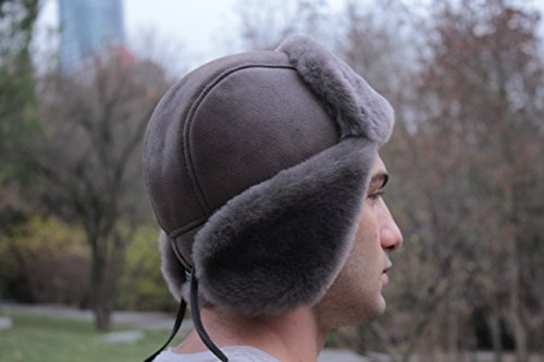 Zavelio Unisex Shearling Sheepskin Leather Aviator Russian Ushanka Trapper  Winter Fur Hat ccc3a5146cc1