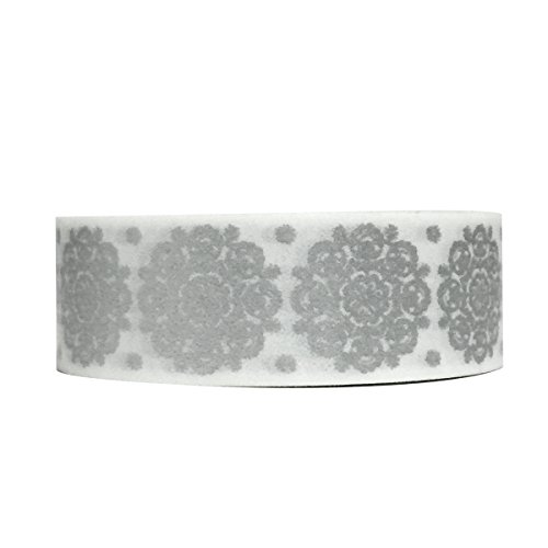 Wrapables Colorful Patterns Washi Masking Tape, Silver Snowflakes