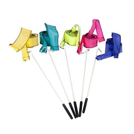 West Music Streamers with Handles - Set of 5 (7 Foot Streamers with 18 Inch Handles)