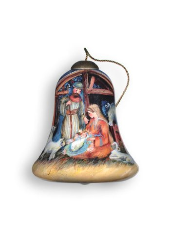 "Ne'Qwa Art, Christmas Gifts, ""Manger"" Artist Susan Winget, Petite Bell-Shaped Glass Ornament, #7000634"