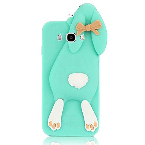 Sunroyal®Caso Funda Para Samsung Galaxy J7 (2016) J710 Carcasa Premium TPU Bumper Cubierta Shell Dientes Divertido Rabbit Animados Lindo Arco Conejo Resistente al Agua Suave Cubierta de la Caja Dibujo Verde