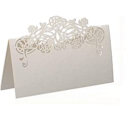 YUFENG 120x Rose Paper Wedding Table Numbers Place Card Escort Name Cards for Wedding Party Decoration Ivory