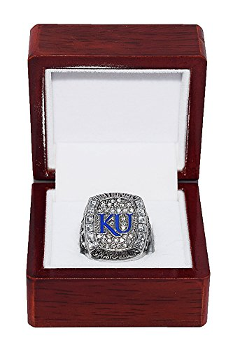 - UNIVERSITY OF KANSAS (Coach Bill Self) 2008 NCAA NATIONAL CHAMPIONS (Four in a Row) Jayhawks Rare & Collectible Replica NCAA Basketball Silver Championship Ring with Cherrywood Display Box