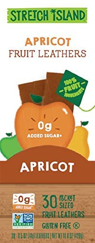 (Stretch Island Apricot Original Fruit Leather Snacks - Vegan | Gluten Free | Non-GMO | No Sugar Added - 0.5 Oz Strips (30)