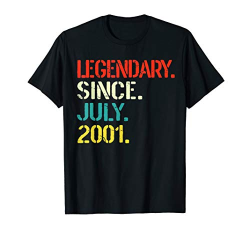 Legendary Since July 2001 18th Birthday Gift 18 Yrs Old Tee ()