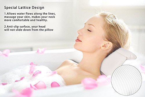 GEROWA Bath Pillows Spa Pillows with Large Suction Cups Extra Firm and Quality Supports Your Neck Head Perfectly Fits All Hot Tub Whirlpool Jacuzzi