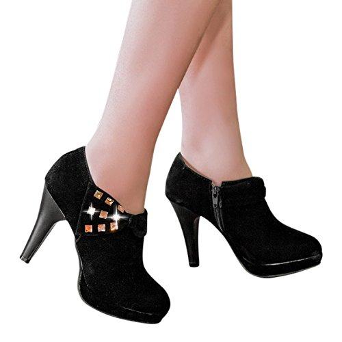 Women's Winter Heels Boots Choice Casual Shoes Platform Ankle Waltz Autumn High Pumps Black 4q5ap