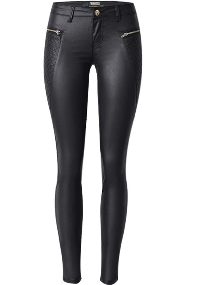 40d71059afbb27 PU Leather Pants for Women Sexy Tight Stretchy Rider Leggings Black 8-10