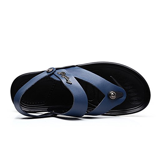 Slip Abrasion 8MUS Genuine Sole Sunny Blue Beach Slippers Size Resistant Color Backless Adjustable Leather Black Men's amp;Baby Sandals Non 0xC78q7Tnw