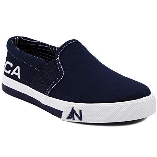 Nautica Kid's Fairwater Youth Slip-On Casual Shoe Canvas Sneaker-Navy -1 (Old Navy Sneakers Boys)