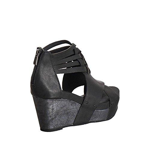 Sandali Con Cinturino Alla Caviglia Intrecciati Da Donna In Pelle 952 Colore Nero