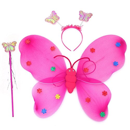 Elevin(TM)2017 3pcs/Set Girls Led Flashing Light Fairy Butterfly Wing Wand Headband Halloween Christmas Dress Cosplay Photo Props Costume Toy (Hot pink)