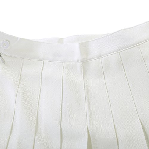 Falda escolar plisada para niña colegio tenis scooters White Single-layer
