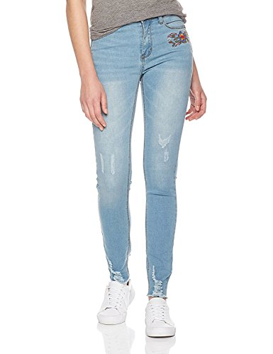 Lily Parker Women's Flower Embroidery Stretch Skinny Jeans with Frayed Hem 27 Light Blue -