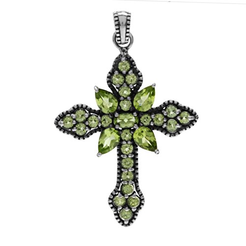 3.63ct. Natural Peridot 925 Sterling Silver Vintage Style Cross -