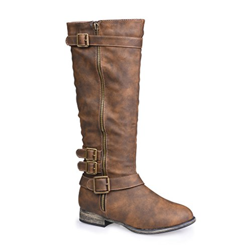 Twisted Women's Noah Knee High Faux Leather Boots with Buckle Straps - NOAH02 DARK TAUPE, Size 10