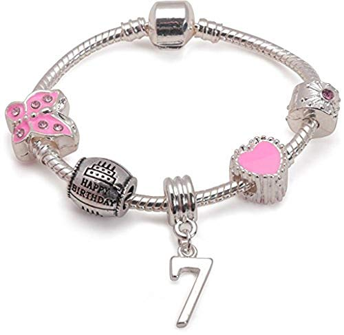 Liberty Charms Children's Pink Happy 7th Birthday Silver Plated Charm Bead Bracelet. with Gift Box (6.3in/16cm)