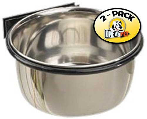 Proselect Stainless Steel Pet Cage Coop Cup, 26-ounce (Pack of 2) (Steel Proselect Stainless Coop Cup)