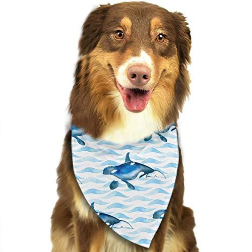 CWWJQ88 Killer Whale Pattern Pet Dog Bandana Triangle