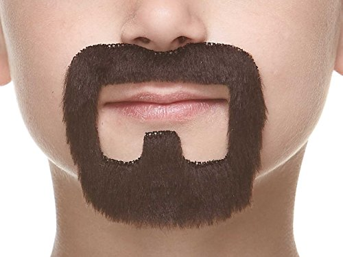 Mustaches Fake Beard, Self Adhesive, Novelty, Small Inmate False Facial Hair, Costume Accessory for Kids, Dark Brown Color]()