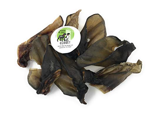 Sancho & Lolas 10-Pack Premium Natural Cow Ears for Dogs Made in USA - Unique Roasted Texture/No Growth Hormones or Chemicals/Natural Source of Collagen and Glucosamine