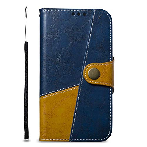 (iPhone XR Case, Bear Village Two-Color Premium Soft Leather Case, Shockproof TPU Interior Cover Flip Case with Stand Function for Apple iPhone XR (#6 Blue))