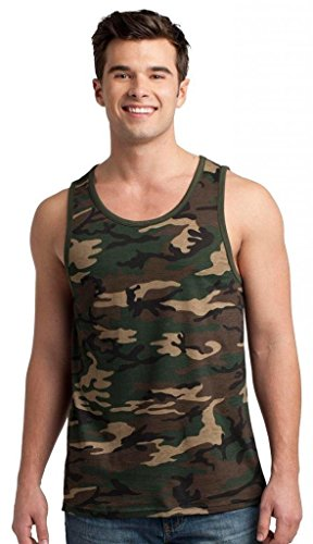 District Men's Ringer Standard Ring Spun Tank Top_Military (Camo Ringer)