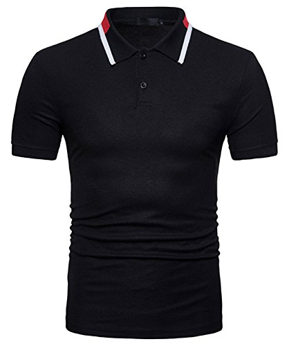 Ba0031 Con Maniche Polo Contrasto Whatlees Casual Whatless black Basic Finitura Uomo Urban Corte A 711Ywqv