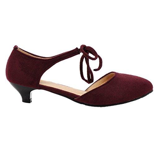 AIYOUMEI Damen Knöchelriemchen Kleinem Absatz Pumps mit Schnürung Bequem Schuhe roserot
