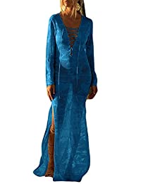 Bsubseach Women Lace Up V Neck Long Sleeve Crochet Swimsuit Cover Up Dress