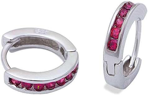 Simulated Ruby Hoop .925 Sterling Silver Earrings