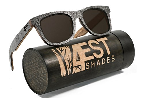 4EST Shades Stone Wood sunglasses - Polarized lenses in a one of a kind wayfarer