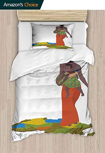 - Woman 2 PCS King Size Comforter Set, Mother Carrying Baby Girl on Her Back Africa Country Culture Continent Map, Decorative 2 Piece Bedding Set with 1 Pillow Sham,71 W x 79 L Inches, Multicolor