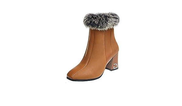 Botines de tacón Alto con Punta Cuadrada, Botines Cortos para Mujer, marrón, 35: Amazon.es: Zapatos y complementos