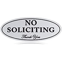 "No Soliciting Sign with Magnets on The Back, Silver, 2.8"" x 7"", Keeps Unwanted Visitors Away, No Deforming, Residue Free Adhesive Included"