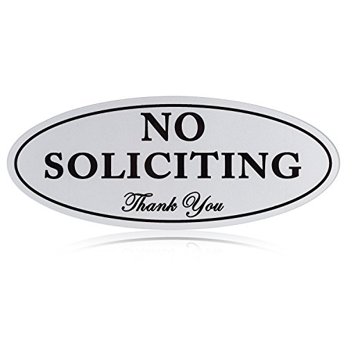 "No Soliciting Sign with Magnets on the Back, Silver, 2.8"" x 7"", Keeps Unwanted Visitors Away, No Deforming, Residue Free Adhesive - Away Sign"