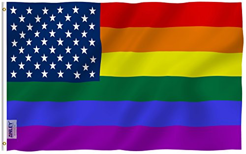 ANLEY [Fly Breeze] 3x5 Foot Rainbow USA Flag - Vivid Color and UV Fade Resistant - Canvas Header and Double Stitched - Gay Pride LGBT Flags Polyester with Brass Grommets 3 X 5 (American Pride Print)