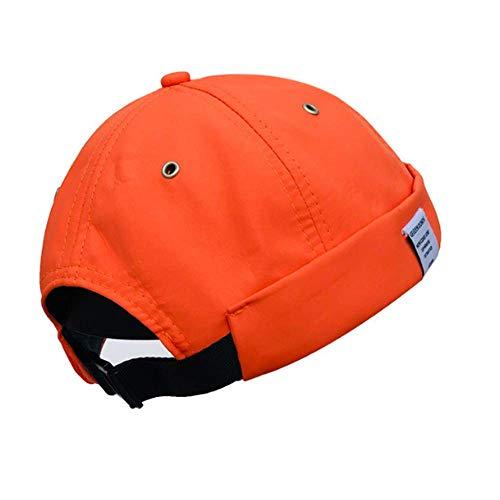 Croogo Unisex Sailor Biker Cap Retro Rolled Cuff Beanie Hat Nylon Brimless Hat Trucker Worker Cap Orange