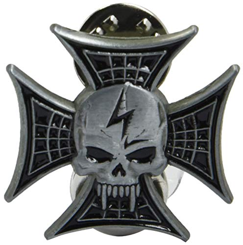 EagleEmblems P62773 Pin-Skull,Lightning Bolt (1'')