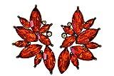 IndigoEarrings Rhinestone Antiqued Leaf Shape Earrings (red)