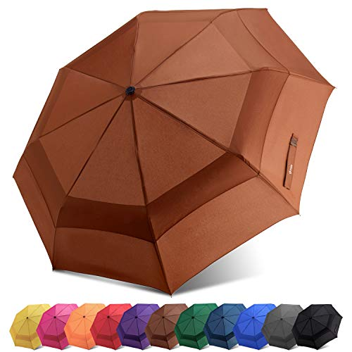 Fidus Compact Windproof Vented Automatic Travel Umbrella with Double Canopy - Large Lightweight Folding Car Golf Umbrella for Women Men Kids-Coffee