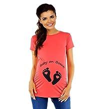 Zeta Ville - Womens Maternity t-shirt top funny Baby on Board imprint - 199c