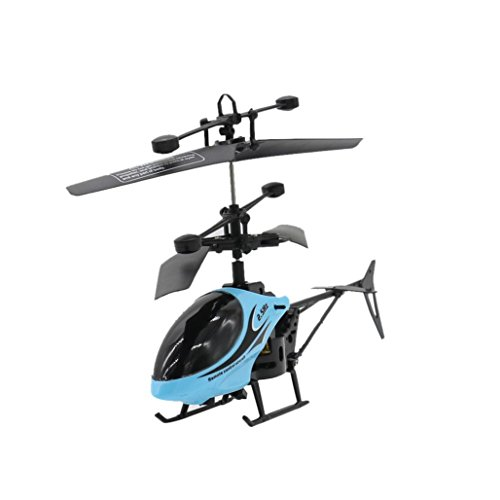 Cinhent Helicopter RC 810 2CH Mini Creative RC Radio Remote Control Aircraft Micro 2 Channel Quadcopter Night Flying Toys For Toddlers Adults (Blue)