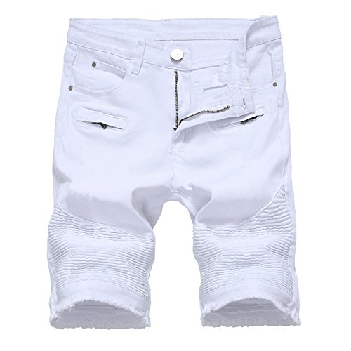 HULANG Mens Casual Ripped Distressed Jeans Denim Shorts with Broken Hole (White1, 36) by HULANG