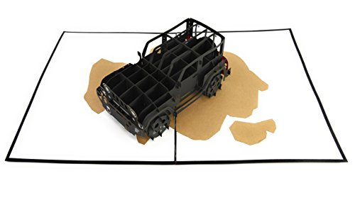 PopLife Jeep Truck Pop Up Card for All Occasions - Happy Birthday, Graduation, Congratulations, Retirement, Work Anniversary, Fathers Day - SUV Drivers, Off-Road, 4X4 Car - Folds Flat for - Transformers Birthday Card