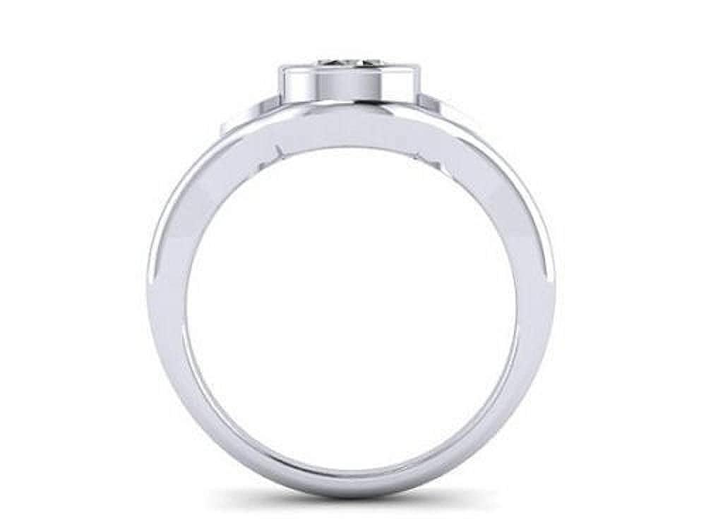 Eshita 7 MM Diamond 925 Sterling Silver Solitaire Engagement Wedding Lotus Shaped Ring