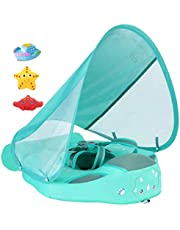 Added Tail Never Flip Over Size Improved UPF 50+ Mambobaby Non Inflatable Baby Float Swim Trainer Infant Pool Float with Canopy Swim Ring