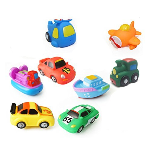 (TOYMYTOY Bath Swimming Toys,8 Assorted Mini Pool Toys 3 Racing Car + Train + Boat + Hovercraft + Helicopter + Fighter)