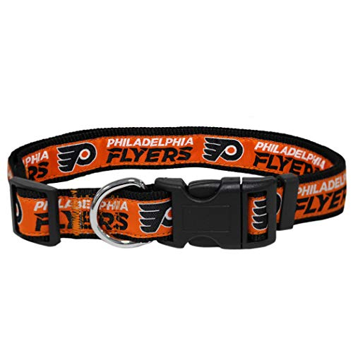 Pets First NHL Philadelphia Flyers Collar for Dogs & Cats, Large. - Adjustable, Cute & Stylish! The Ultimate Hockey Fan Collar! -